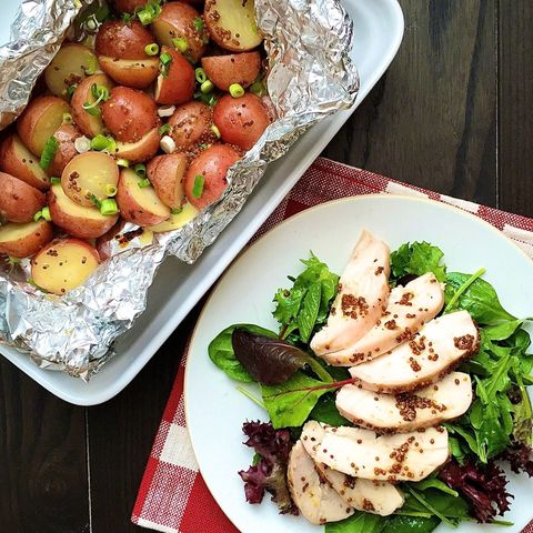 Honey Mustard Roasted Chicken and Potatoes with Mixed Greens