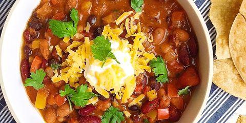 Vegetarian Chili with Tortilla Crisps