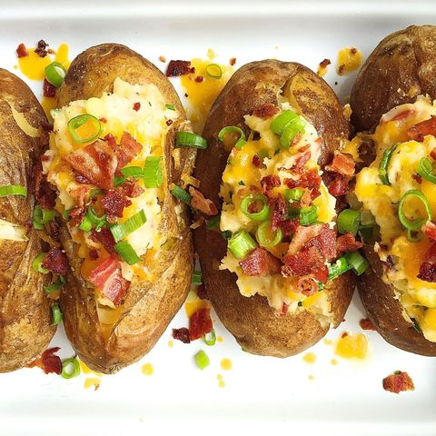 Loaded Baked Potatoes With Bacon And Cheddar