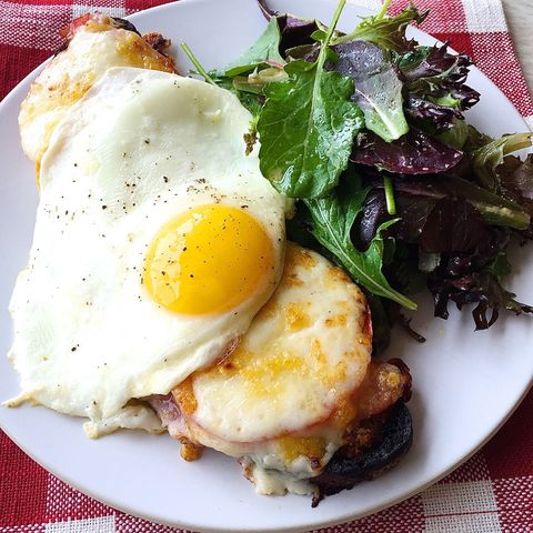 croque madames with tomato and rosemary ham