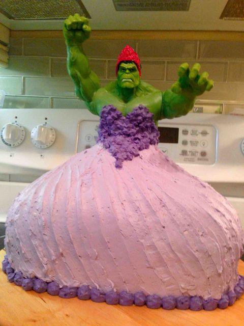 Brilliant Hulk Princess Birthday Cake Crazy Cakes Funny Birthday Cards Online Elaedamsfinfo