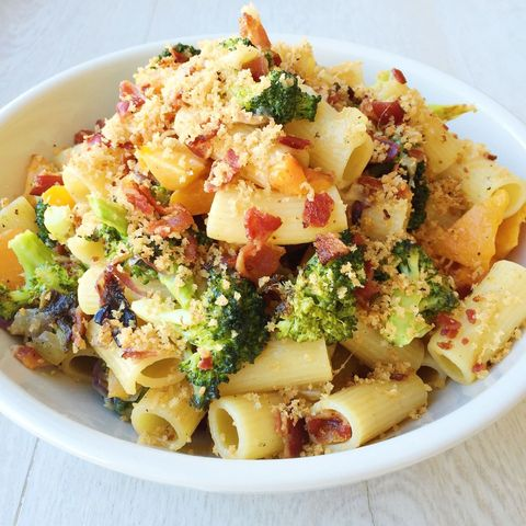 Rigatoni with Roasted Broccoli, Butternut Squash, Bacon, and Fontina
