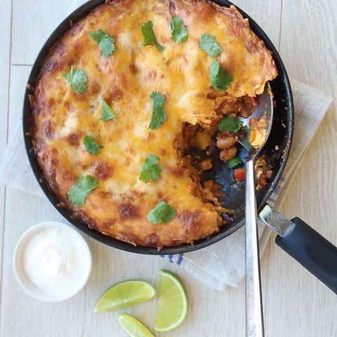Cheesy Vegetarian Enchilada Skillet Bake