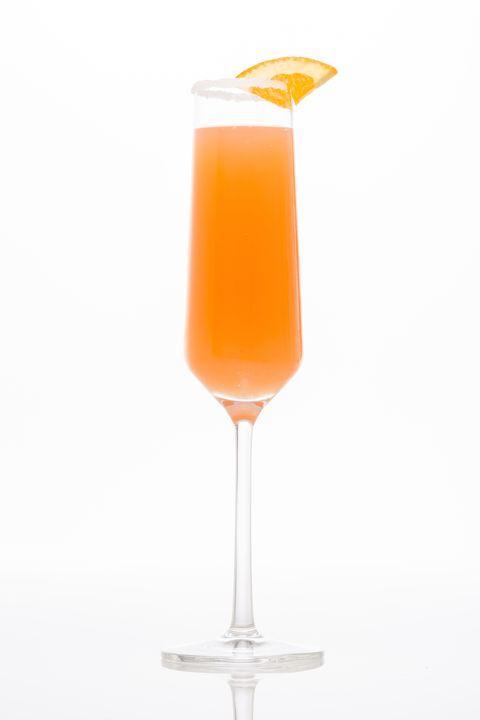 Drink, Juice, Orange drink, Alcoholic beverage, Bellini, Cocktail, Non-alcoholic beverage, Orange juice, Bay breeze, Distilled beverage,