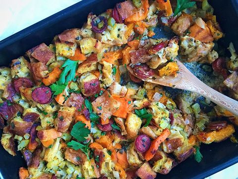 Butternut Squash and Andouille Stuffing