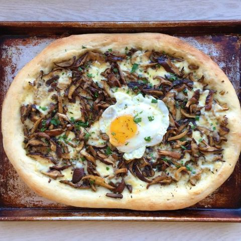 Wild Mushroom Pizza with Fontina and Egg
