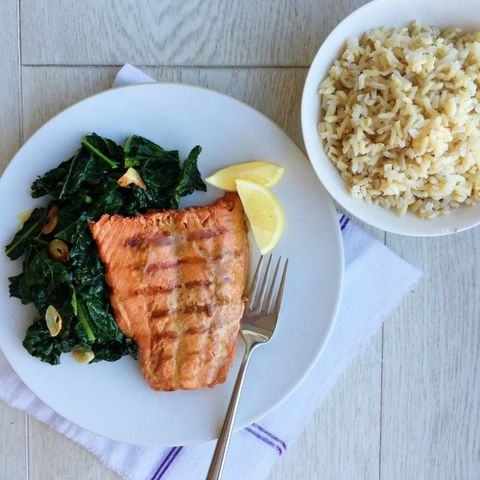 Soy-Glazed Grilled Salmon with Brown Rice and Sauteed Kale