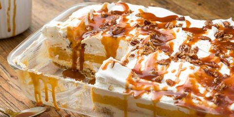 Pumpkin Cheesecake Lasagna Piece Missing