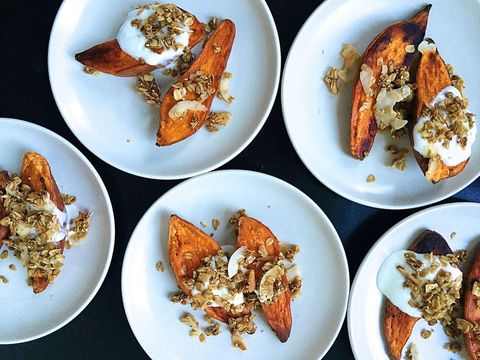 roasted yams with brown butter granola and maple yogurt