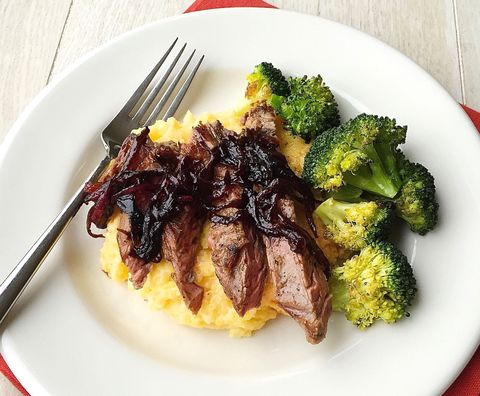 Grilled Skirt Steak with Balsamic-Glazed Red Onions, Polenta and Roasted Broccoli