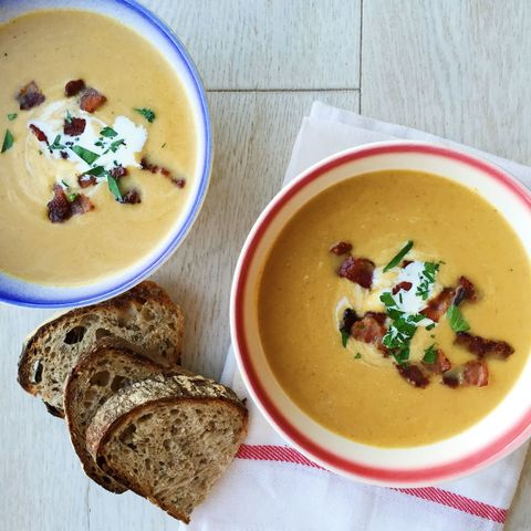 Butternut Squash Apple Soup with Bacon