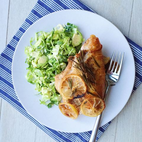 lemon, garlic, and rosemary roasted chicken breasts with brussels sprouts slaw