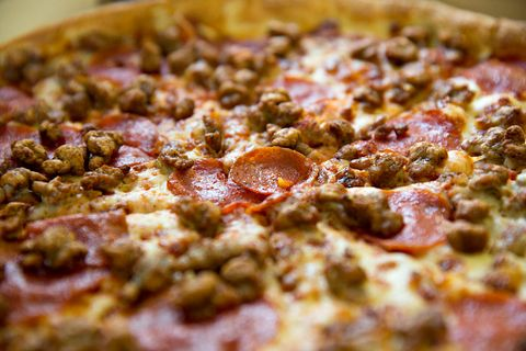 Food, Dish, Recipe, Pizza, Baked goods, Comfort food, Fast food, Italian food, Pizza cheese, Cooking,