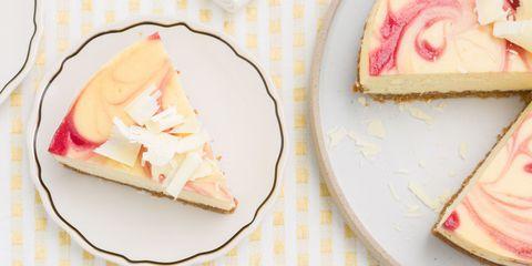 White Chocolate Cheesecake with Raspberry Swirl