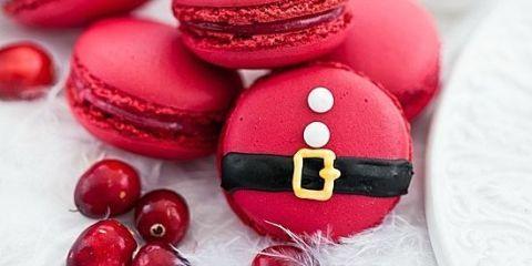 Christmas Macarons.Santa Claus Desserts Decorated Christmas Desserts