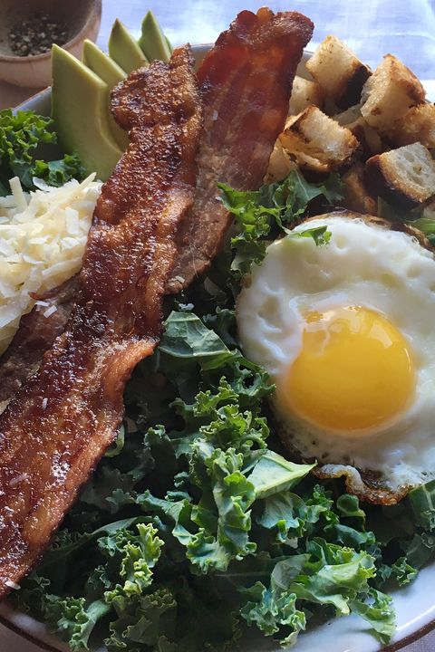 kale, bacon, egg and cheese salad