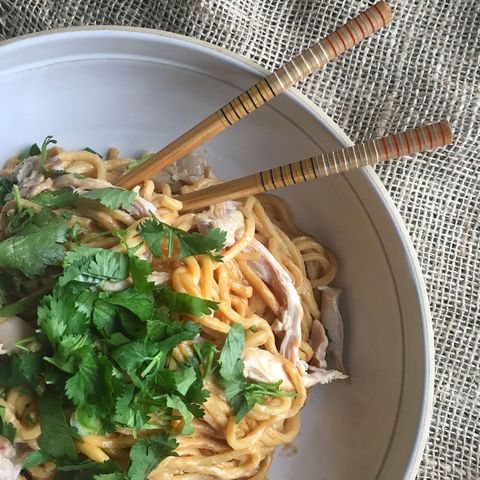 coconut peanut noodles with shredded chicken