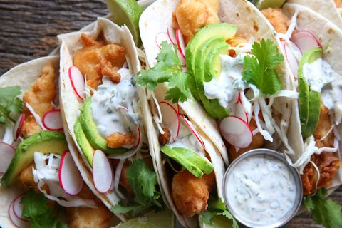 Beer Battered Fish Tacos with Jalapeno Cilantro Crema