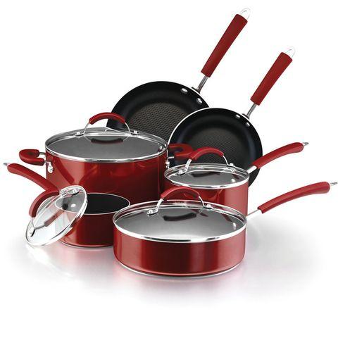 overstock Farberware Millennium 12 piece Non stick Red Porcelain Cookware Set