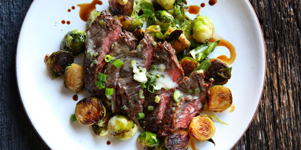 Best Skirt Steak With Scallion Butter And Roasted Brussels