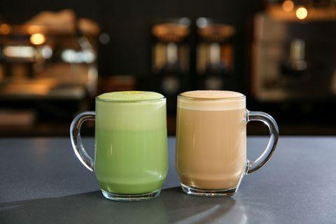 Starbucks citrus green tea latte and smoked butterscotch latte