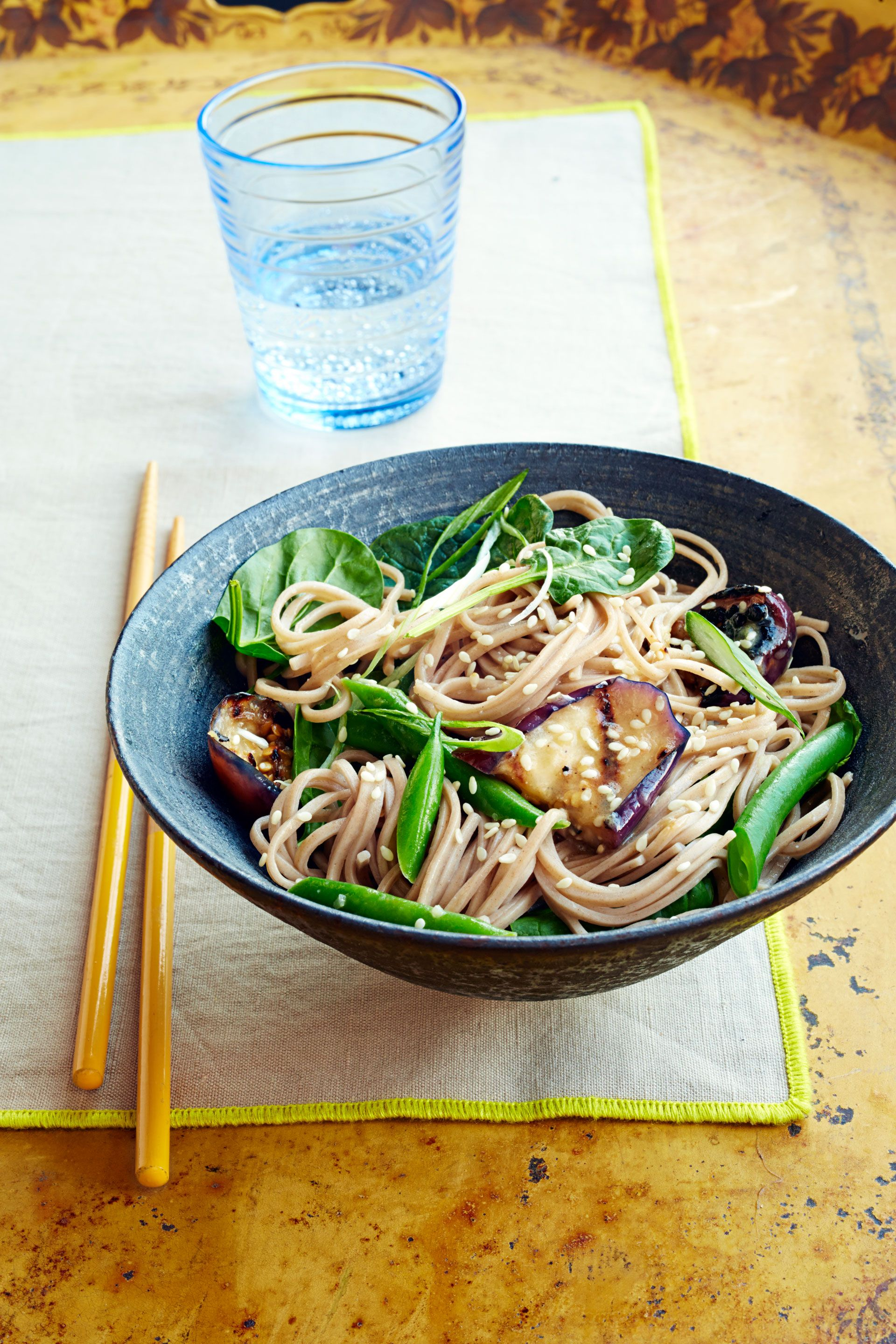 soba with miso glazed eggplant