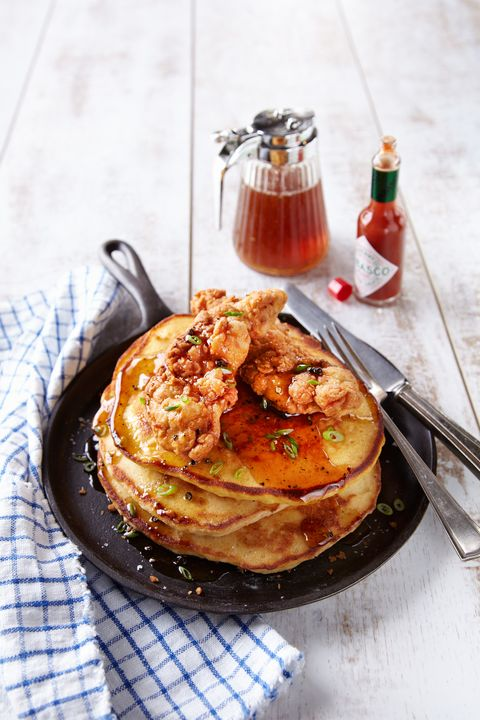 Chicken and Corn Bread Pancakes with Spicy Syrup