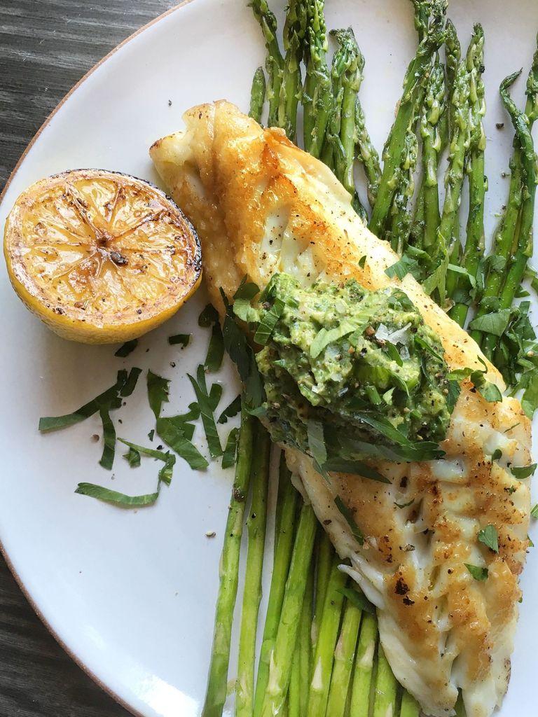 Chilean Sea Bass with Spinach-Avocado Pesto | Quick and Easy Spring Recipes For Dinner | Homemade Recipes