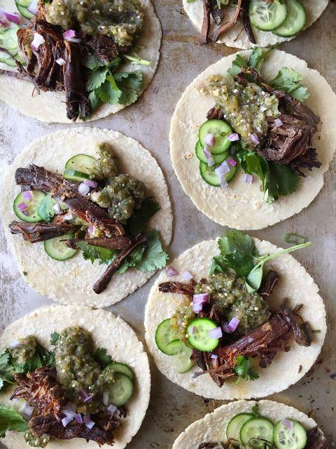 Recipe for slow-cooker Korean beef tacos.