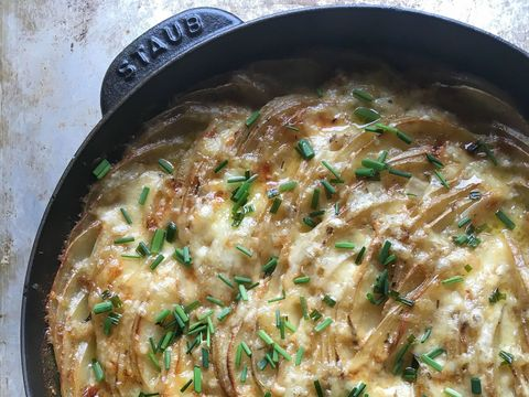 Skillet Scalloped Potatoes with Chive Butter