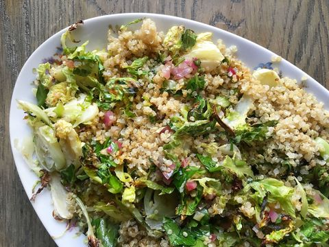 Roasted Brussels Sprouts and Quinoa with Warm Red Onion Vinaigrette