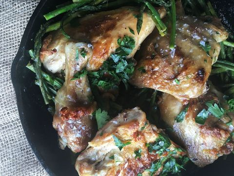 Skillet Roast Chicken with Asparagus and White Wine Sauce Recipe