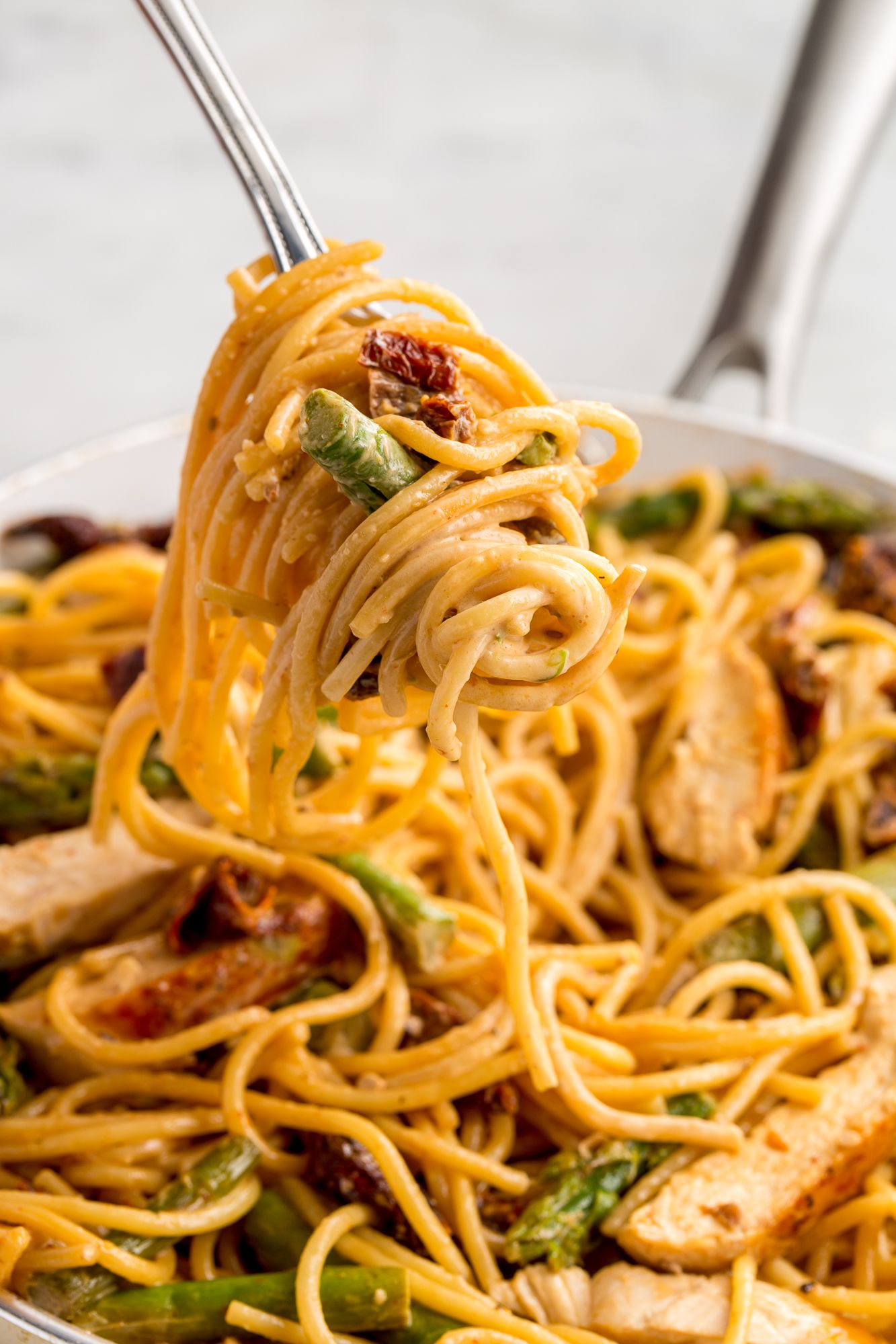 best asparagus sundried tomato and chicken spaghetti recipe how