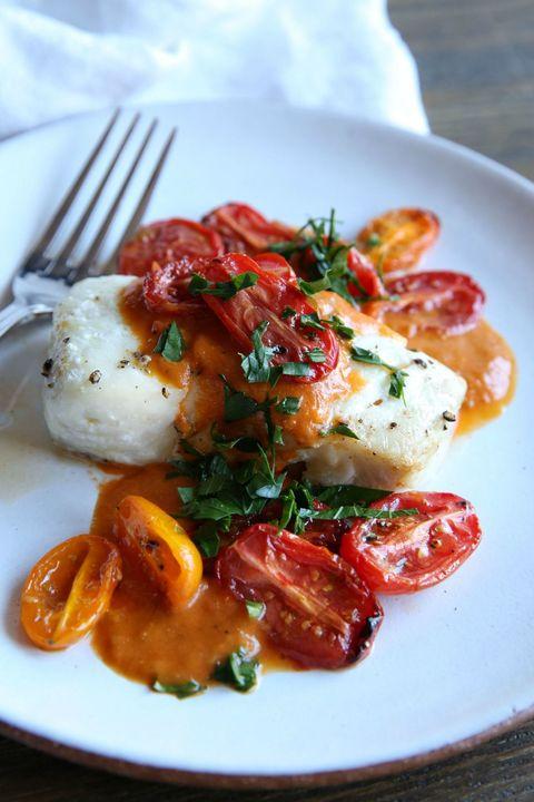 Roasted Cod with Tomato Cream Sauce Recipe