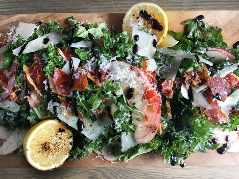 Kale, Apple, Pecorino Salad with Crispy Prosciutto and Balsamic Drizzle Recipe