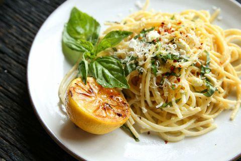 Lemon Spaghetti with Feta, Parmesan and Basil Recipe