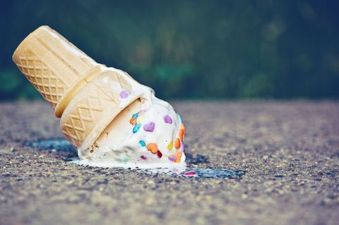 Melted ice cream in a cone