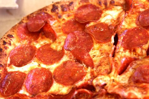 Food, Ingredient, Pepperoni, Pizza, Dish, Fast food, Meat, Baked goods, Recipe, Cooking,