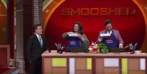 Melissa McCarthy and husband Bob Falcone compete on Stephen Colbert's mini-version of Chopped.