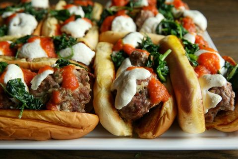 pork meatball subs with garlicky kale recipe