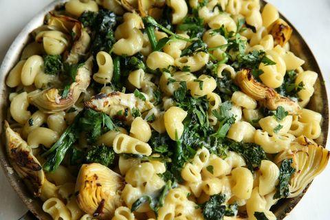 Skillet Macaroni with Broccoli Rabe and Crispy Artichokes Recipe