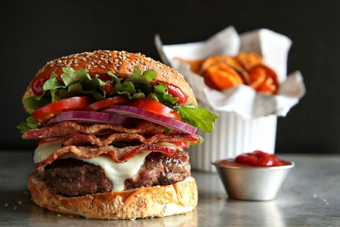 bacon cheeseburger and sweet potato chips recipe