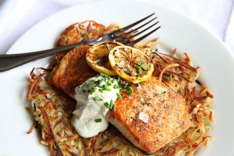 Seared Salmon with Potato Pancakes and Yogurt Sauce