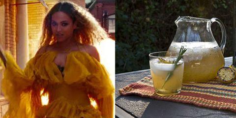 Hairstyle, Drink, Tableware, Serveware, Ingredient, Dress, Drinkware, Amber, Classic cocktail, Long hair,