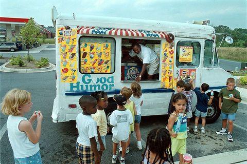 Footwear, Leg, Child, Summer, Public space, Toddler, Food truck, Truck,