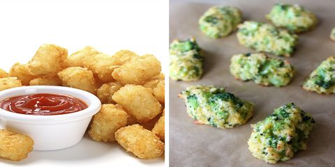 Tater tots with tomato sauce and baked broccoli tots
