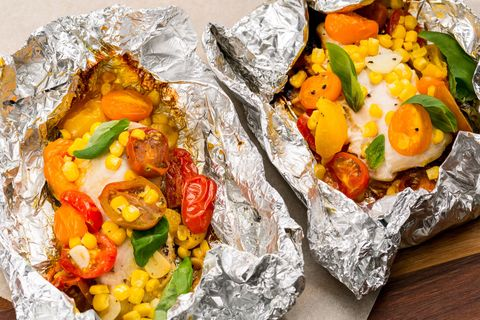 chicken, tomatoes, and corn foil pack