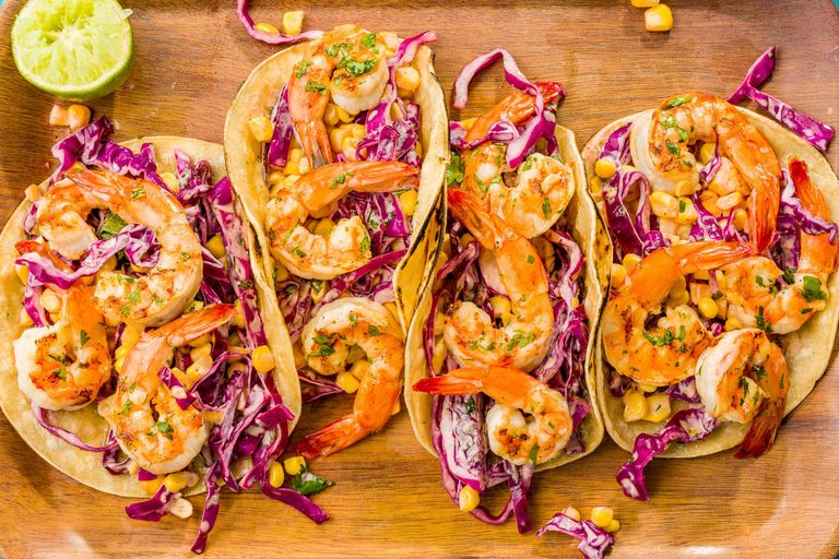 Grilled Shrimp Tacos with Sriracha Slaw Recipe