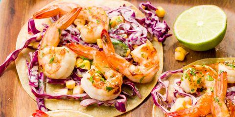 grilled shrimp tacos with sriracha slaw