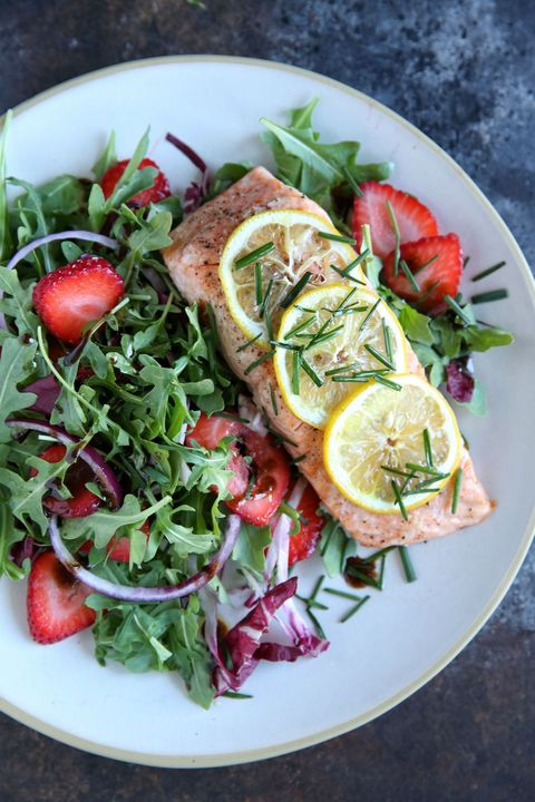 Roasted Salmon with Strawberry-Arugula Salad Recipe